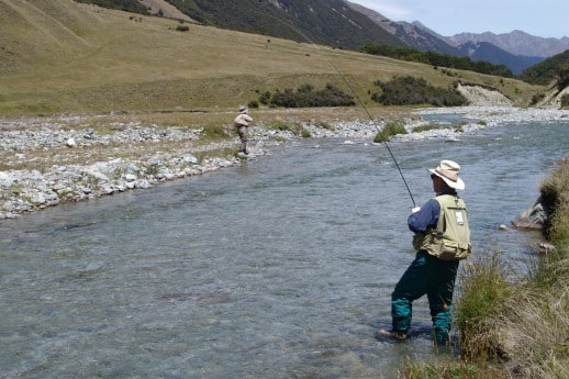 New Zealand Fly Fishing Expeditions - Rare double hook up in the backcountry